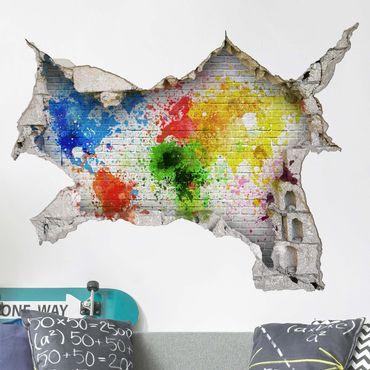 Adesivo murale 3D - White Brick Wall World Map - orizzontale 4:3