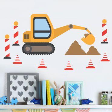 Adesivi murali bambini - Set con escavatore - Stickers cameretta bimbo