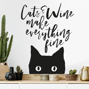 Adesivo murale - Cats And Wine Make Everything Fine