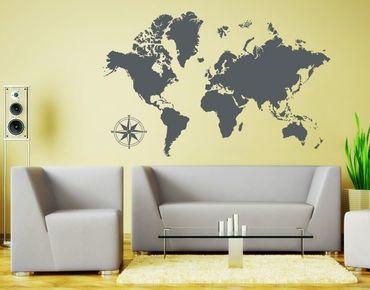 Adesivo murale - Dettagliata mappa del mondo