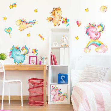Adesivo murale Unicorno acquarello vivaio set