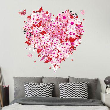 Adesivo murale no.321 Floral Retro Heart