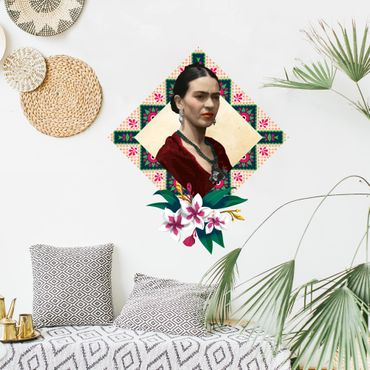 Adesivo murale Frida Kahlo - Fiori e geometria