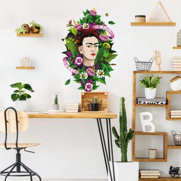 Adesivo murale - Frida Kahlo - Frida, scimmia e pappagallo