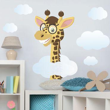 Adesivo murale giraffa divertente