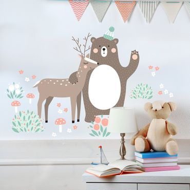 Adesivo murale Children's pattern Forest friends with bear and deer