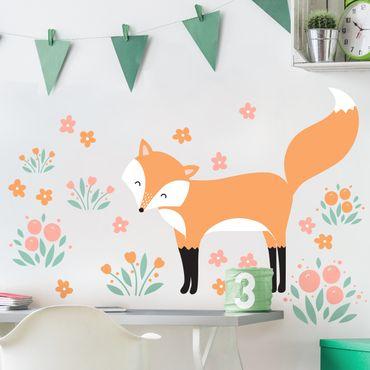 Adesivo murale Children's pattern Forest friends with fox