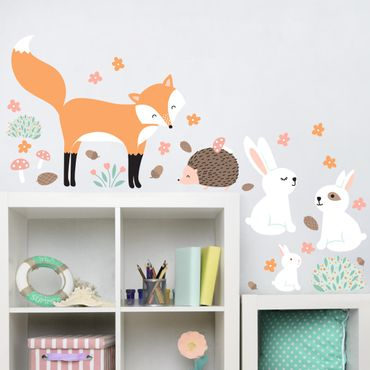 Adesivo murale Children's pattern Forest friends with rabbit hedgehog and fox