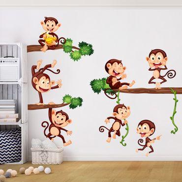 Adesivi murali bambini - Scimmiette felici - Stickers cameretta