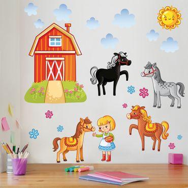 Adesivo murale Farm Set with Horses