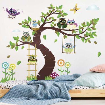 Adesivi murali bambini - no.YK23 Albero dei gufi - Stickers cameretta
