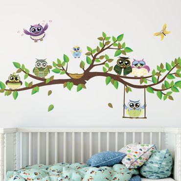 Adesivi murali bambini - N.YK24 Gufi colorati su ramo - Stickers cameretta