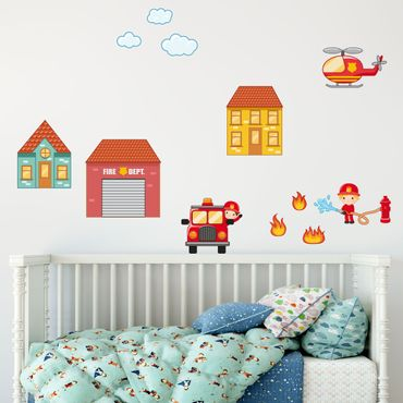 Adesivo murale Firefighter Set with Houses