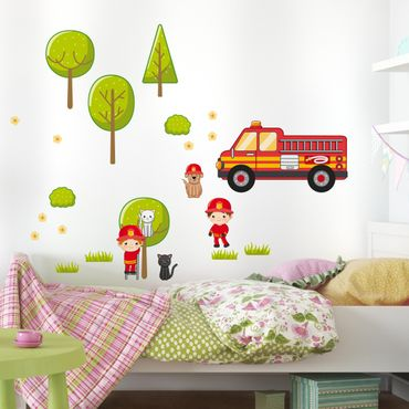 Adesivo murale Firefighter Set with Cats