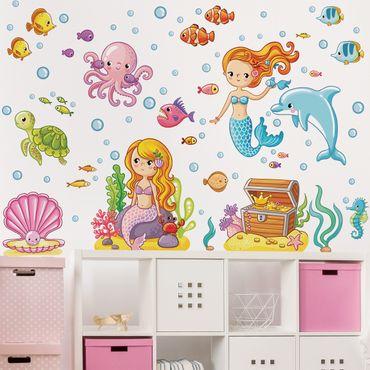 Adesivi murali bambini - Set acquatico con sirene - Stickers cameretta