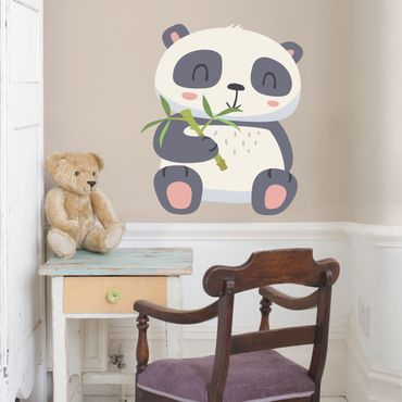 Adesivo murale Panda nibbling on bamboo
