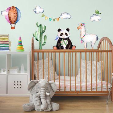 Adesivi murali bambini - Panda, lama, cactus, mongolfiera e nuvole in acquerello - Stickers cameretta