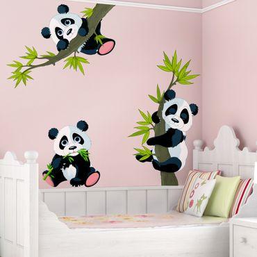 Adesivi murali bambini - Set orsetti panda - Stickers cameretta