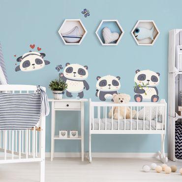 Adesivi murali bambini - Set dolci orsetti panda cuori, farfalle e bambu - Stickers cameretta