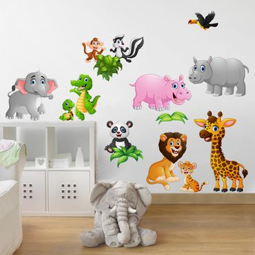 Adesivi murali bambini - Set animaletti della giungla - Stickers cameretta