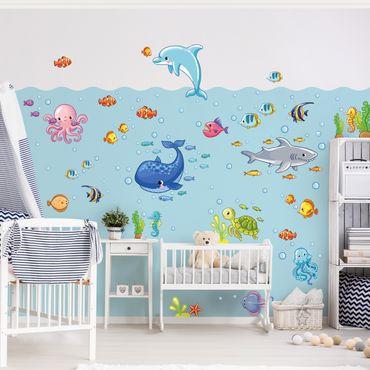 Adesivo murale bambini - Set acquatico con pesci - Stickers cameretta