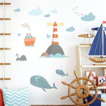 Adesivo murale bambini - Faro e balenottere - Stickers camerette