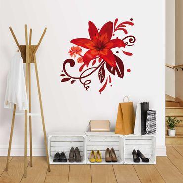 Adesivo murale no.BP7 Lily Dream Red