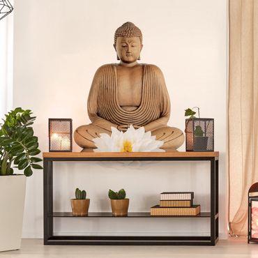 Adesivo murale Buddha in legno fiore di loto