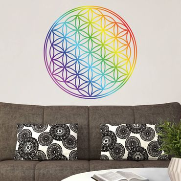 Adesivo murale Flower of Life rainbow color