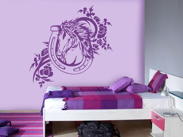 Adesivo murale - Cavallo con ferro di cavallo