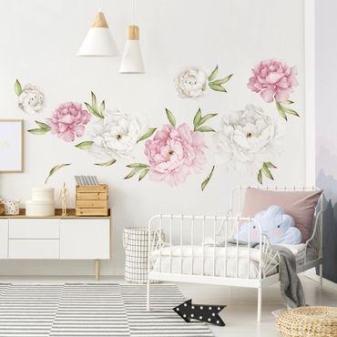 Adesivi murali fiori - Set di peonie rosa e bianche - Stickers pareti