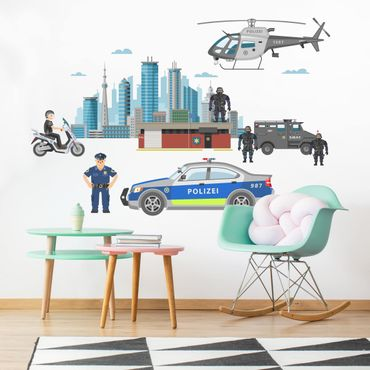 Adesivi murali bambini - Set polizia con auto ed elicottero