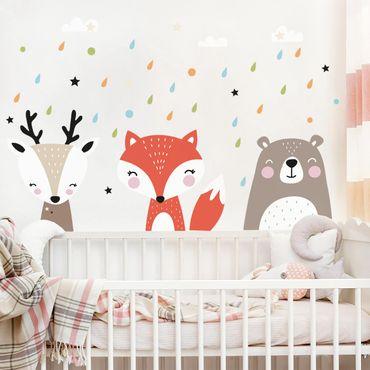 Adesivo murale bambini - Dolci animaletti della foresta - Stickers camerette