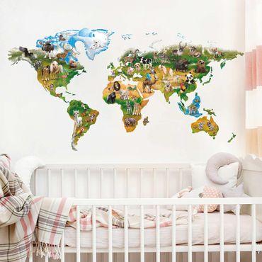 Adesivi murali bambini - Mappa del mondo con gli animali