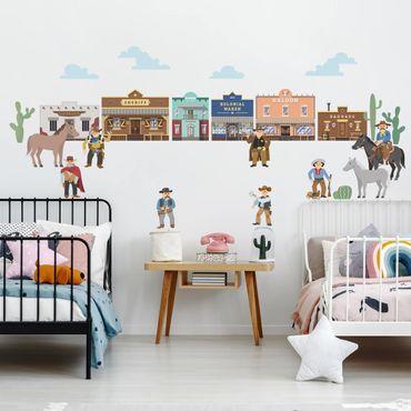 Adesivi murali bambini - Wild West - Duello in città
