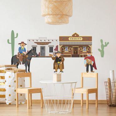 Adesivi murali bambini - Wild West - Ladro e sceriffo