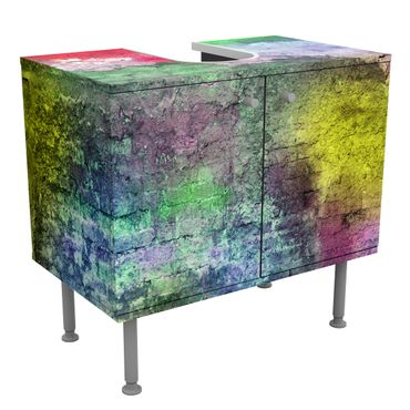 Mobile per lavabo design Colorful sprinkled old brick wall