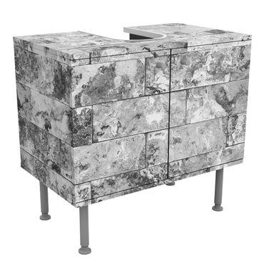 Mobile per lavabo design - Stone Wall Natural Marble Gray-