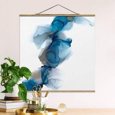 Foto su tessuto da parete con bastone - La via del vento in blu e oro - Quadrato 1:1