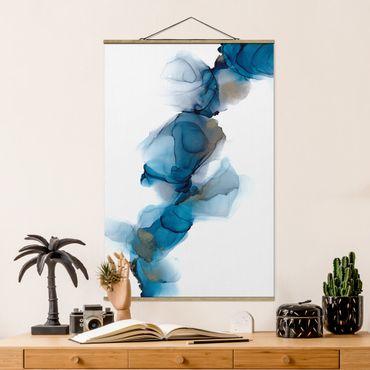 Foto su tessuto da parete con bastone - La via del vento in blu e oro - Verticale 2:3