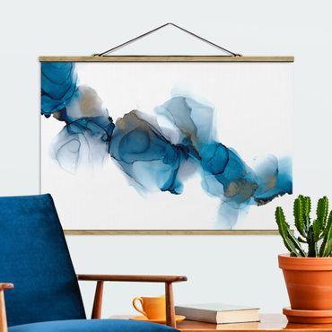 Foto su tessuto da parete con bastone - La via del vento in blu e oro - Orizzontale 3:2