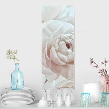 Quadro in vetro - Fioritura bianca in un mare di fiori