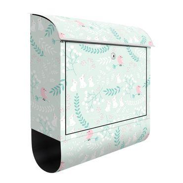Cassetta postale - Coniglietti bianchi e uccellini rosa nella boscaglia