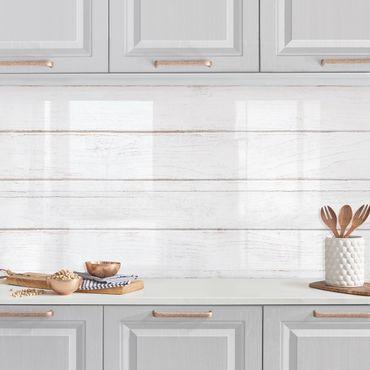 Rivestimento cucina - Tavole di legno bianche shabby