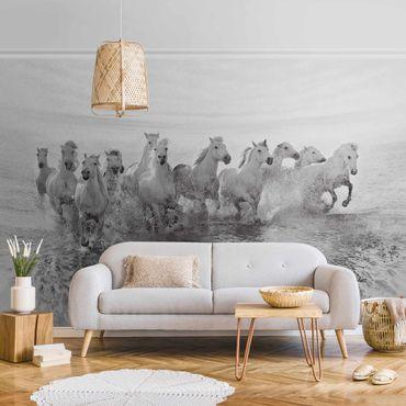 Carta da parati metallizzata - Cavalli bianchi nel mare