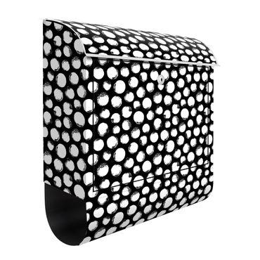 Cassetta postale - Pois china bianchi su nero