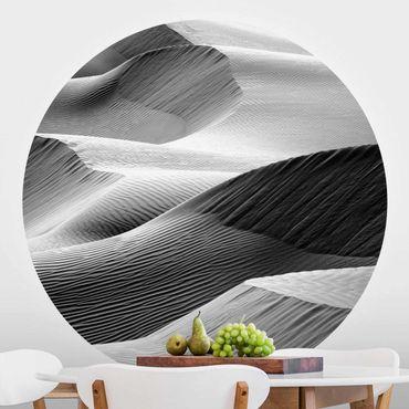 Carta da parati rotonda autoadesiva - modello d'onda nel deserto di sabbia