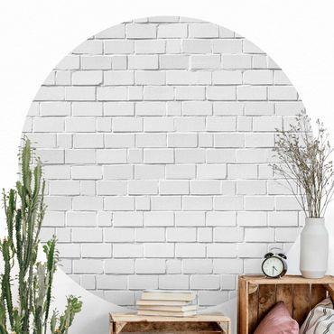 Carta da parati rotonda autoadesiva - Bianco Muro di pietra