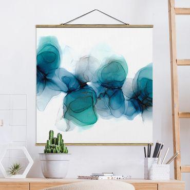 Foto su tessuto da parete con bastone - Fioriture selvagge in blu e oro - Quadrato 1:1