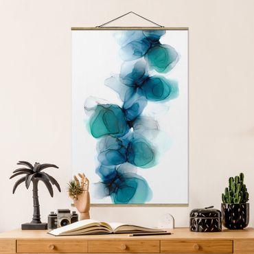 Foto su tessuto da parete con bastone - Fioriture selvagge in blu e oro - Verticale 2:3
